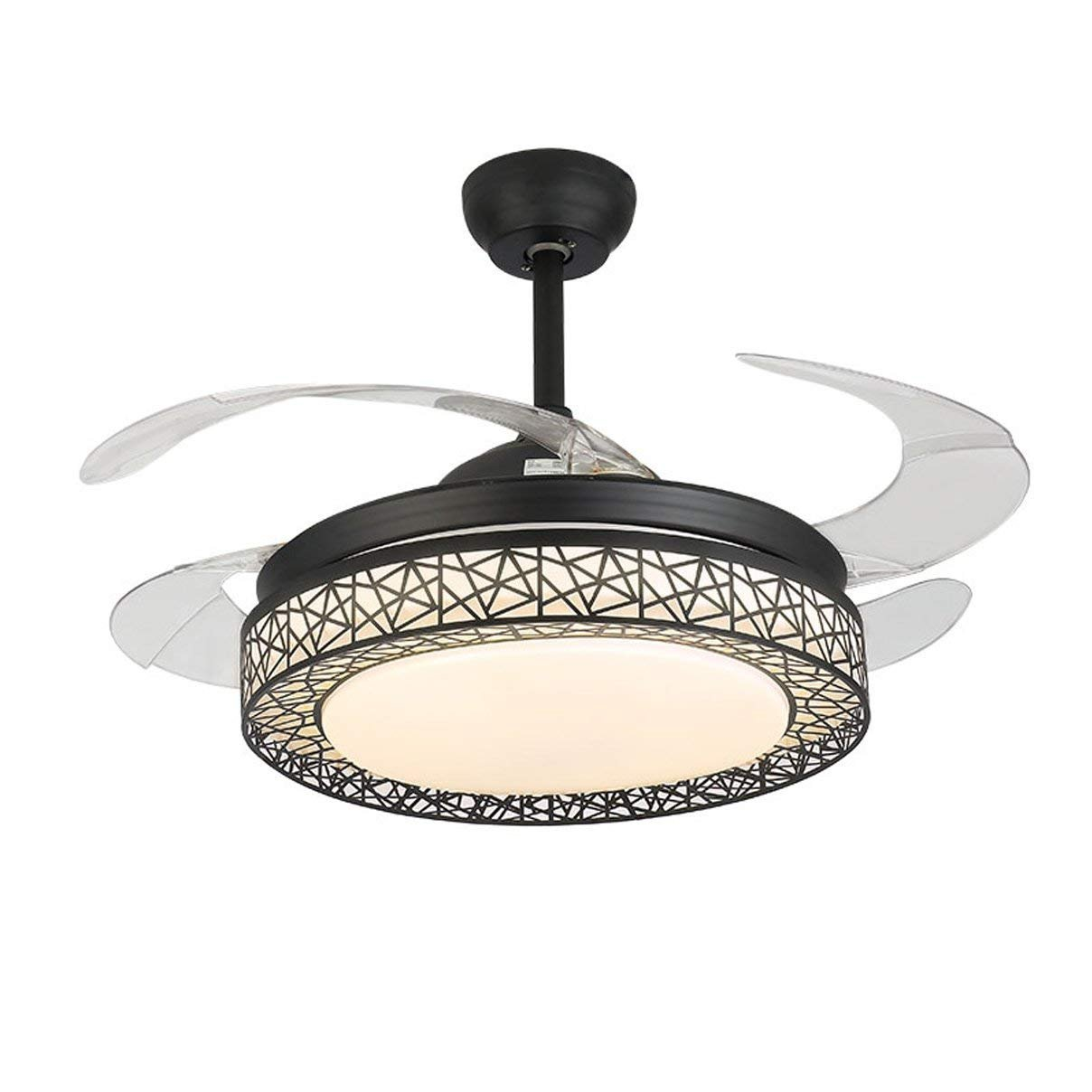 Fandian 42Inch Ceiling Fans with Light 4 Retractable Blades LED Ceiling Fan 3 Color Change 3 Speeds Chandelier with Remote Control (Black)