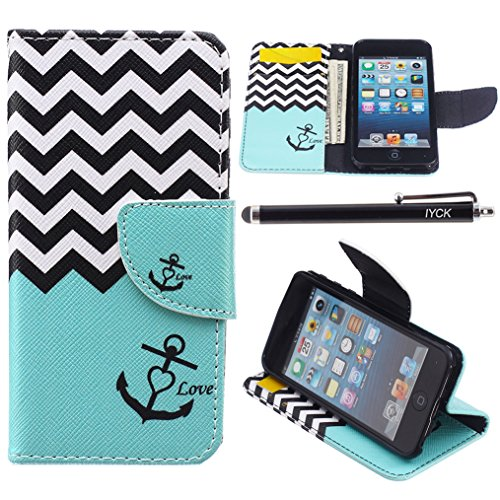 iPod Touch 5 Case, i Touch 6 Case Wallet, iYCK Premium PU Leather Flip Folio Carrying Magnetic Closure Protective Shell Wallet Case Cover for iPod Touch 5/6 with Kickstand Stand - Wavy Anchor (Ipod Touch 5 Flip Cases For Girls)