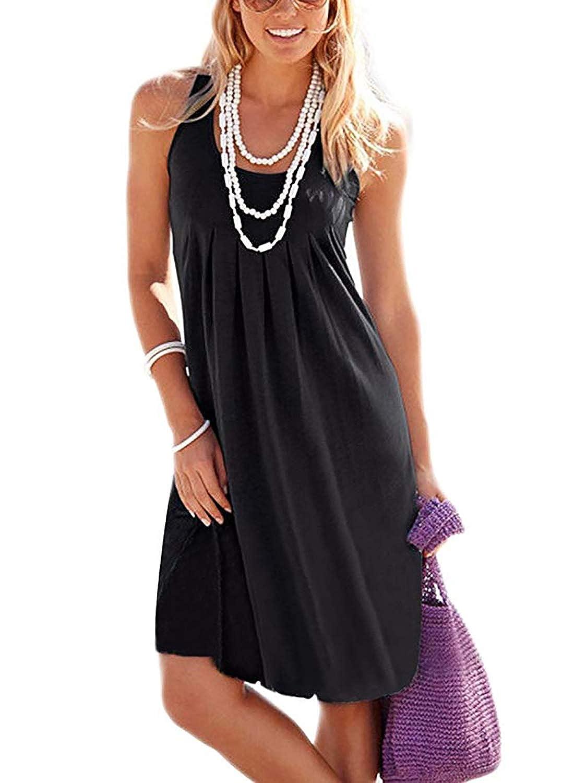 Black HUSKARY Womens Summer Casual Tank Sleeveless Printed Vest Dresses