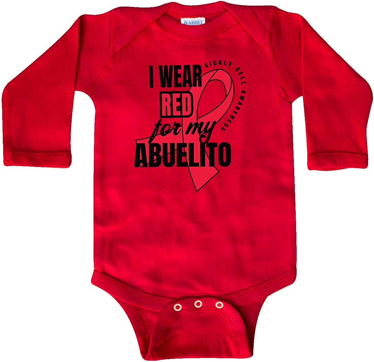 inktastic Sickle Cell Awareness I Wear Red for My Abuelito Long Sleeve Creeper