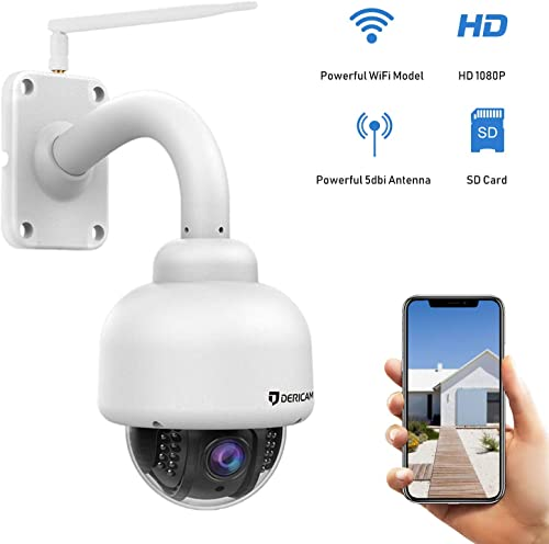 Dericam Outdoor PTZ WiFi Security Camera,1080P IP Surveillance CCTV Camera,Pan Tilt Zoom,4X Optical Zoom,Night Vision,Motion Detect,IP65 Weatherproof Pre-Instal 32G SD Card