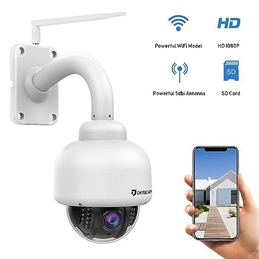 Cámara de Seguridad WiFi Exterior Dericam, cámara PTZ, Crystal Full HD 1080P, Zoom óptico de 4X, Enfoque automático, Tarjeta de Memoria de 32GB ...