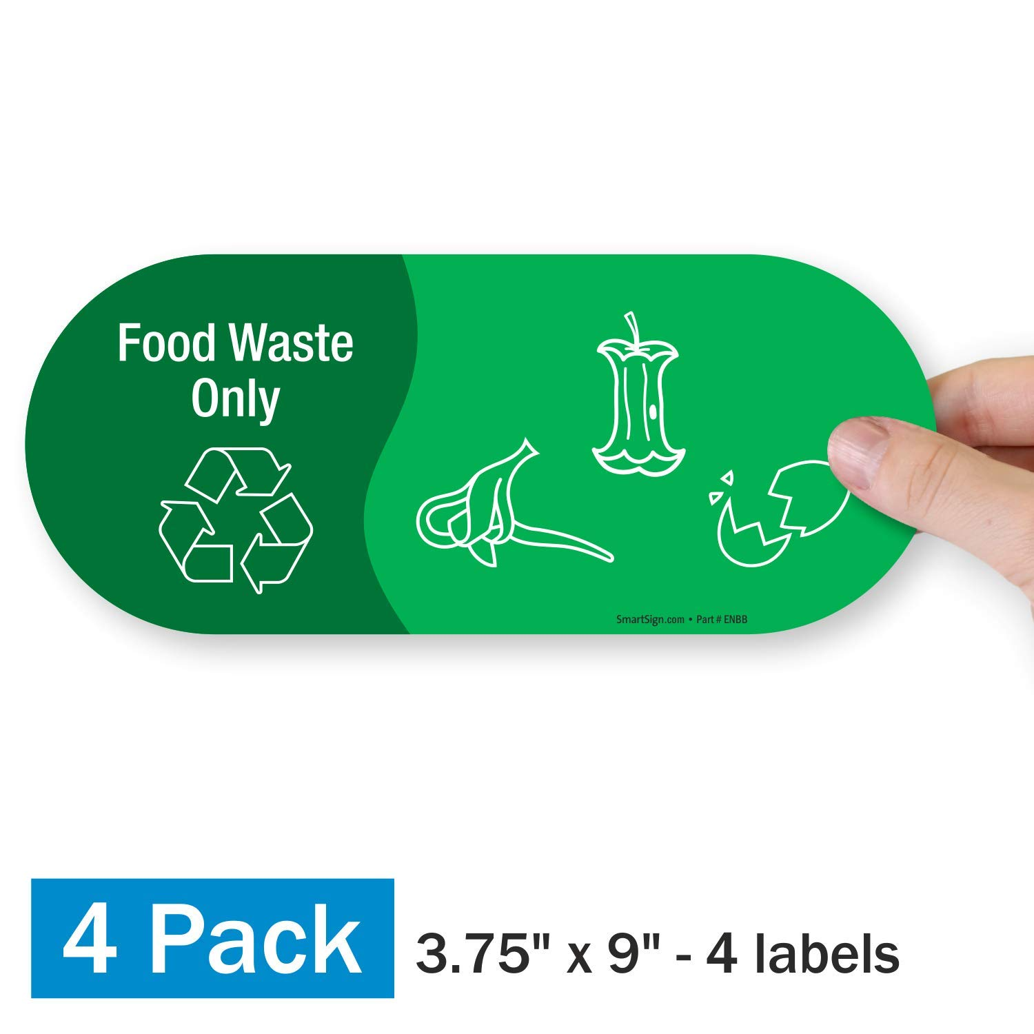 """SmartSign """"Food Waste Only"""" Label 