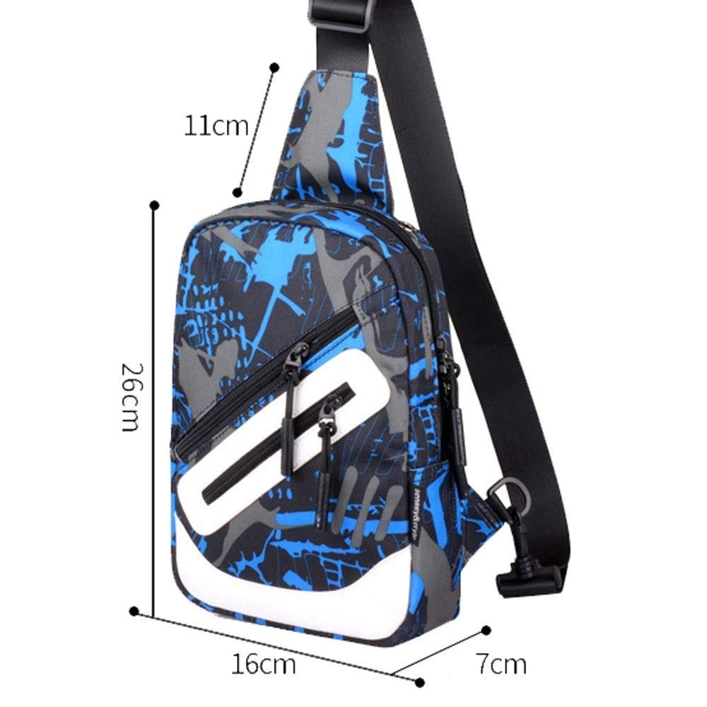 FS Waist Bag, Canvas Casual Men's Sports Fashion Small Backpack Diagonal Package, Large Capacity, Multi-Color Selection (Color : E)