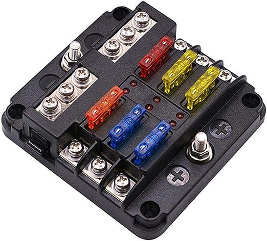 Lanceasy - Caja de fusibles con 6 fusibles de 12 V con Indicadores ...