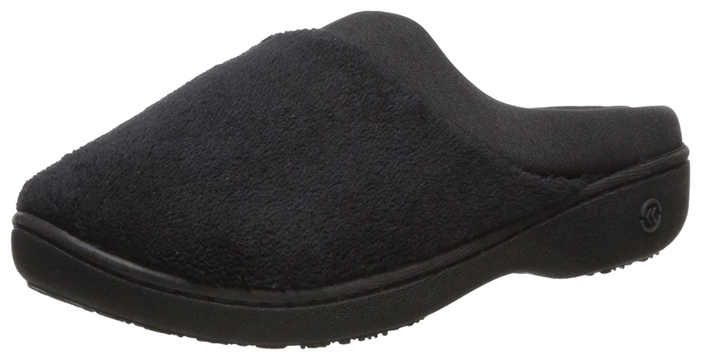ISOTONER Women's Terry and Satin Slip On Cushioned Slipper with Memory Foam for Indoor Outdoor Comfort