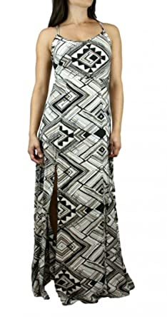 83b473843ea40 Image Unavailable. Image not available for. Color: Ark & Co. Sexy Racerback  Tribal Print Flowy Side Slip Maxi Dress ...
