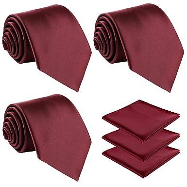 fortunatever - Corbata de 3 piezas de color rojo borgoña, clásica ...