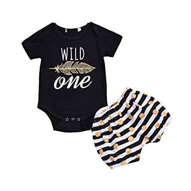 886bad939750 Amazon.com  Newborn Girl Clothes Set Baby Boy Girl Feather Short Sleeve  Romper+Striped Shorts Summer Outfits  Clothing