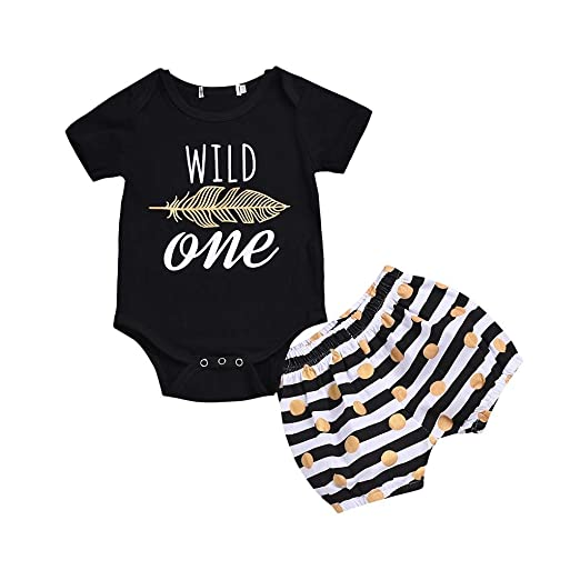 3c603ff706b Lavany Baby Clothes Set Boys Girls Short Sleeve Feather Romper+Stripe  Shorts Outfits Black