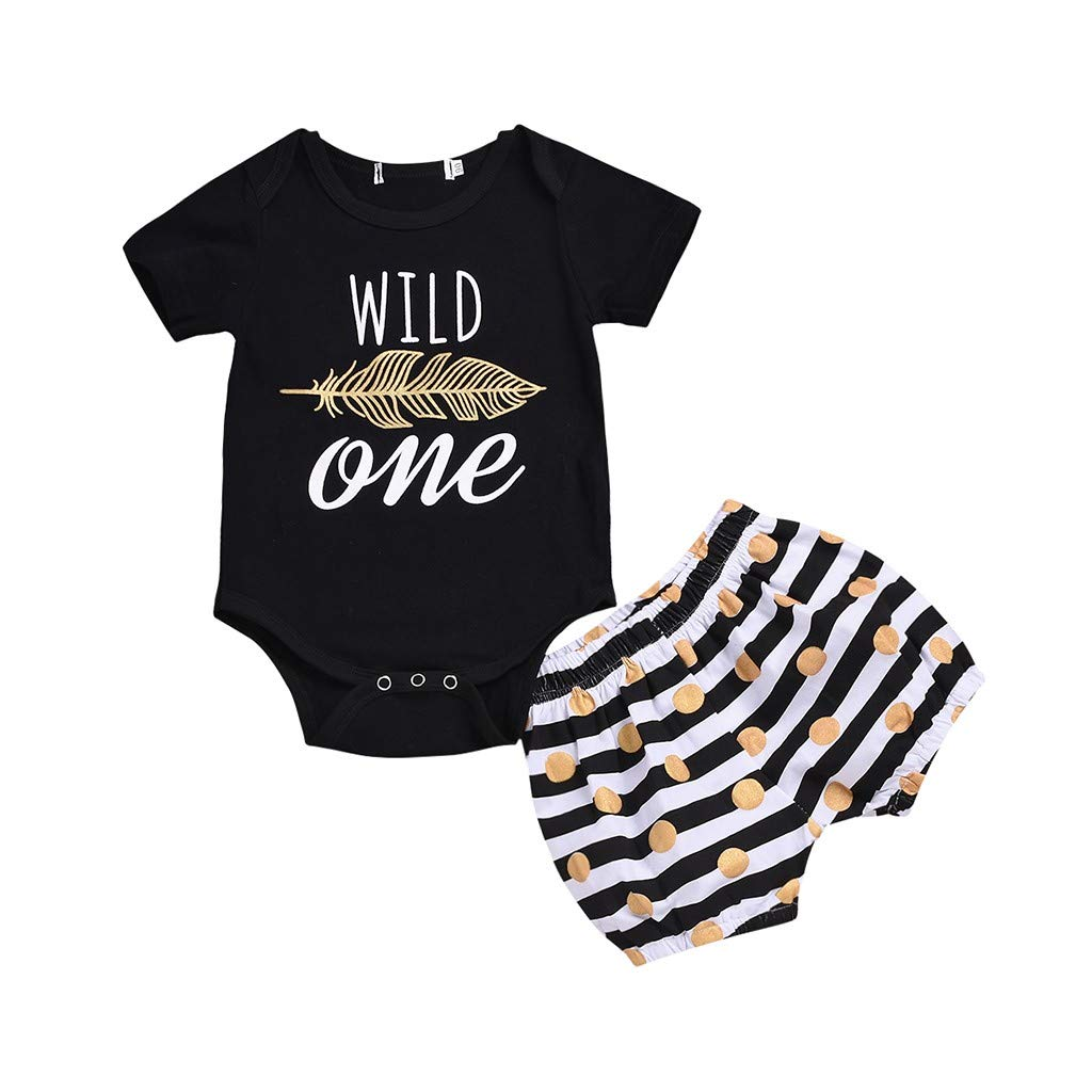 Lavany Baby Clothes Set Boys Girls Short Sleeve Feather Romper+Stripe Shorts Outfits Black