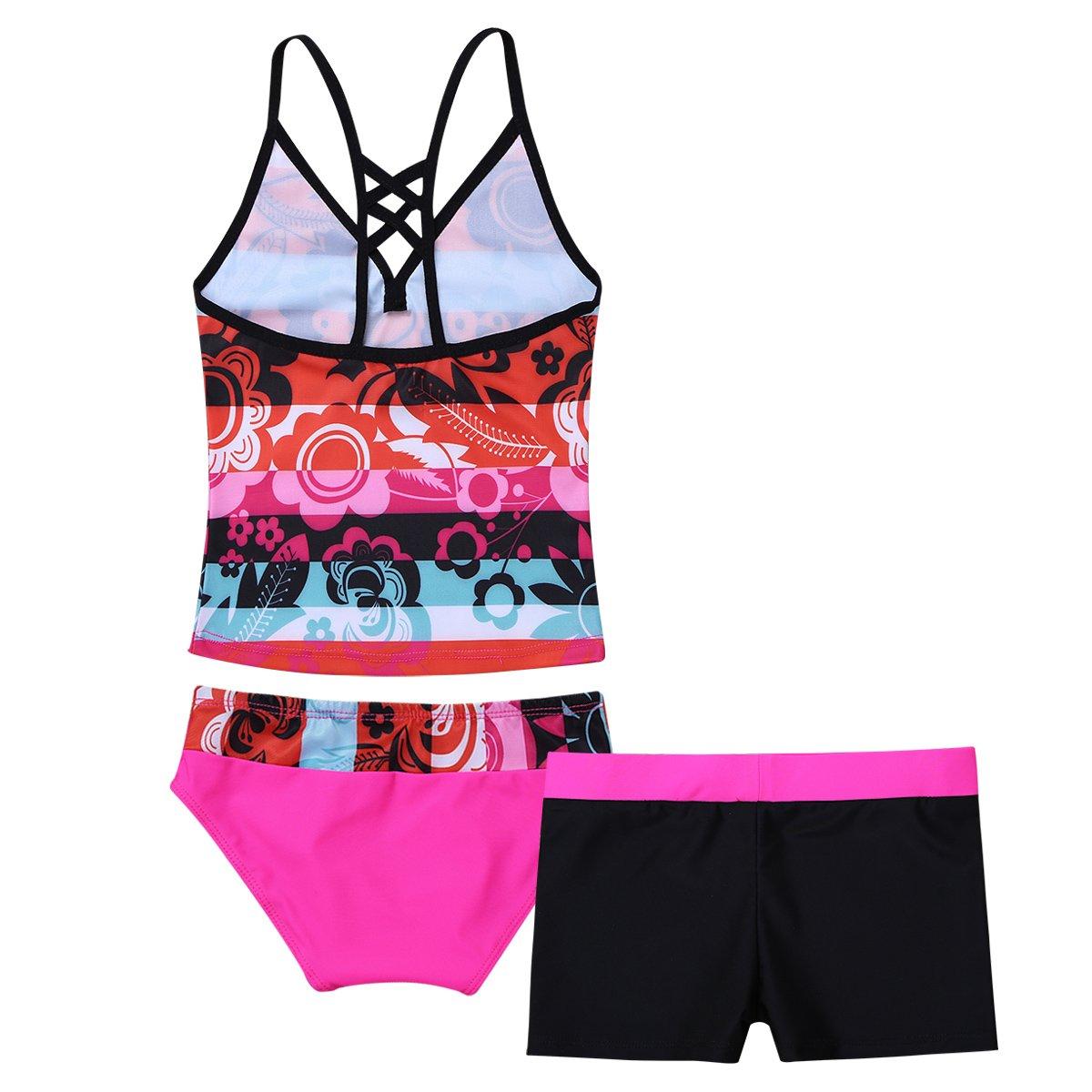 Badeset Tops Slips mit Shorts Blumen Muster Bikini Sets Mädchen Badeanzug 3tlg