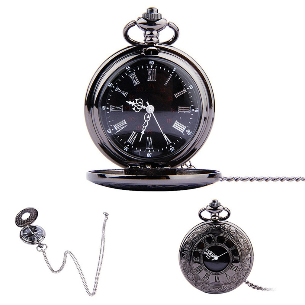 Pocket Watch Vintage Roman Numerals Quartz Watch Clock With Chain Antique Black