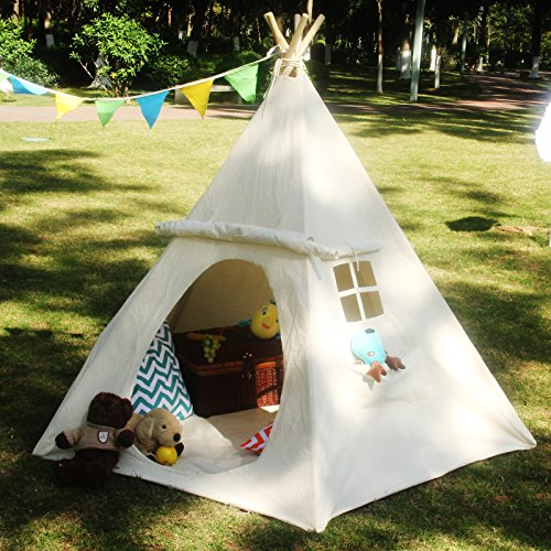 - Lavievert Children Playhouse Huge Indian Canvas Teepee Kids Play House with Two Windows - Comes with A Canvas Carry Bag