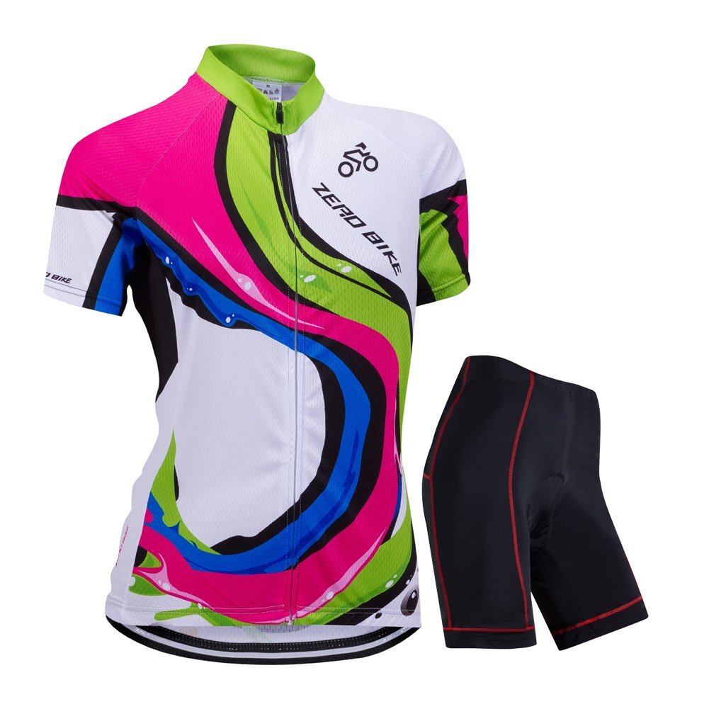ZEROBIKE Womens Short Sleeve Cycling Jersey Jacket Cycling Shirt Quick Dry Breathable Mountain Clothing Bike Top E Support