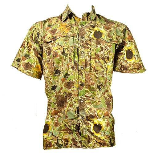 Sunflower Camo Full Print Button Down Shirt (Large, Sunflower Camo Full Print Button Down Shirt)