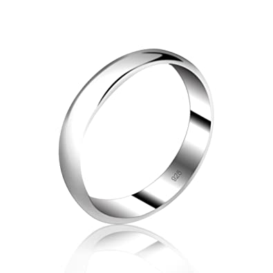 5mm D-Shape Heavy Silver Wedding Band Ring In Sizes Complete With Gift Ring  Box 496802b6ec9f