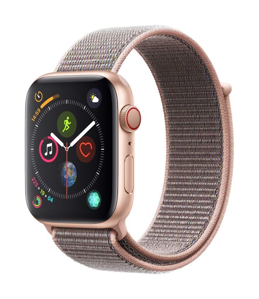 Apple Watch Serie 4 (GPS + Celular, 44 mm) - Caja de aluminio dorado con lazo deportivo con arena rosa