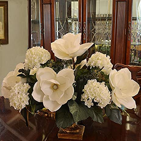 white magnolia and hydrangea large silk flower arrangement