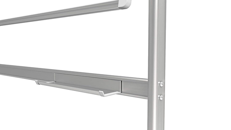 Laccata Magnetica Cancellabile a Secco Cornice in Alluminio ALLboards Lavagna Magnetica Bianca a Due Lati Base Mobile e Girevole con Ruote 120x90 cm