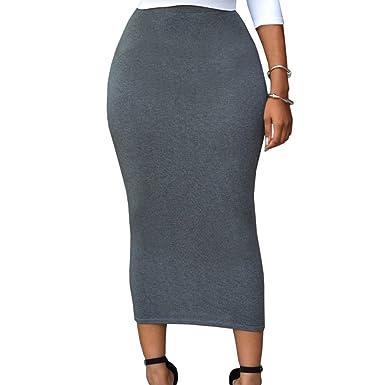 830c6d551219 Uranus Femme Jupe Longue Moulante Taille Haute Jupe Crayon Élégant Casual  Eté 2018  Amazon.fr  Vêtements et accessoires