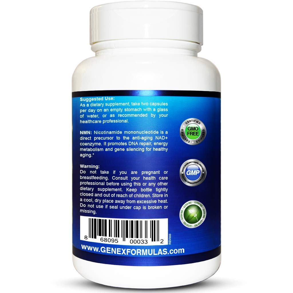 NMN 250mg Serving 3Pack Nicotinamide Mononucleotide Direct NAD+ Supplement, Anti Aging DNA Repair & Healthy Metabolism (2X 125mg caps 60 ct per Bottle) by Genex Formulas (Image #3)