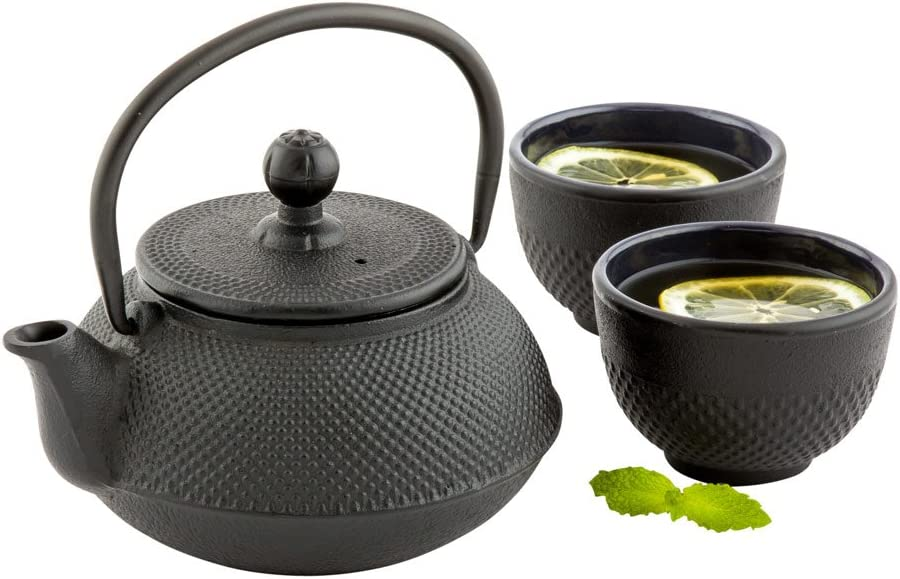 Tetsubin Hobnail Teapot, Cast Iron Teapot - 20 oz - Black - 1ct Box - Restaurantware