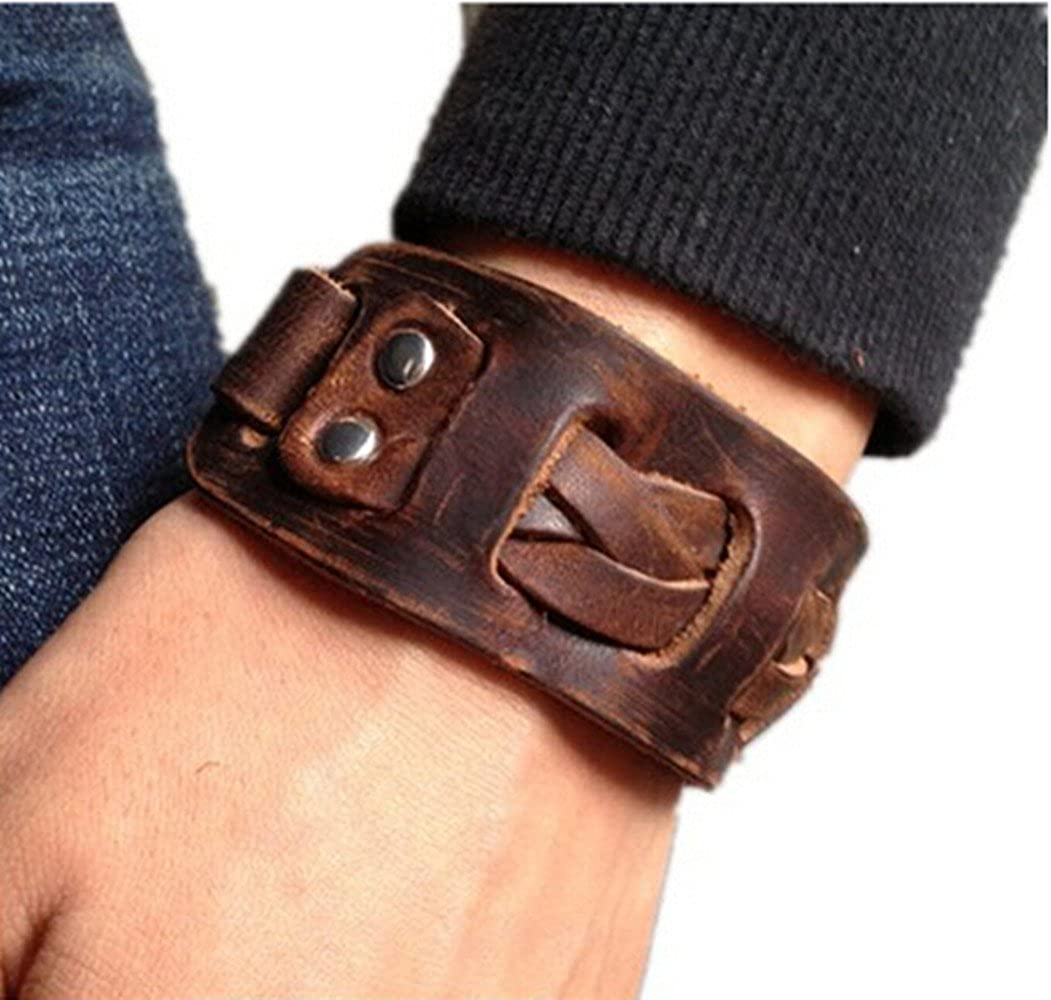 Jirong Antique Men's Brown Leather Cuff Bracelet, Leather Wrist Band Wristband Handcrafted Jewelry Sl2258 COOLLA