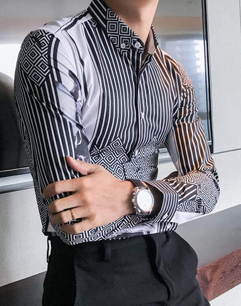 Fubotevic Mens Stripe Casual Regular Fit Diamond Floral Printed Nightclub Button Down Blouse Shirt Tops