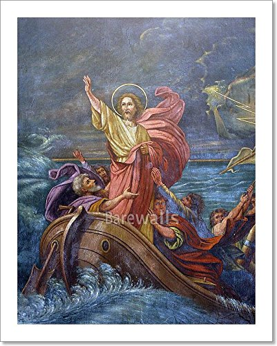 Barewalls Jesus Calms A Storm On The Sea Paper Print Wall Art (10in. x -