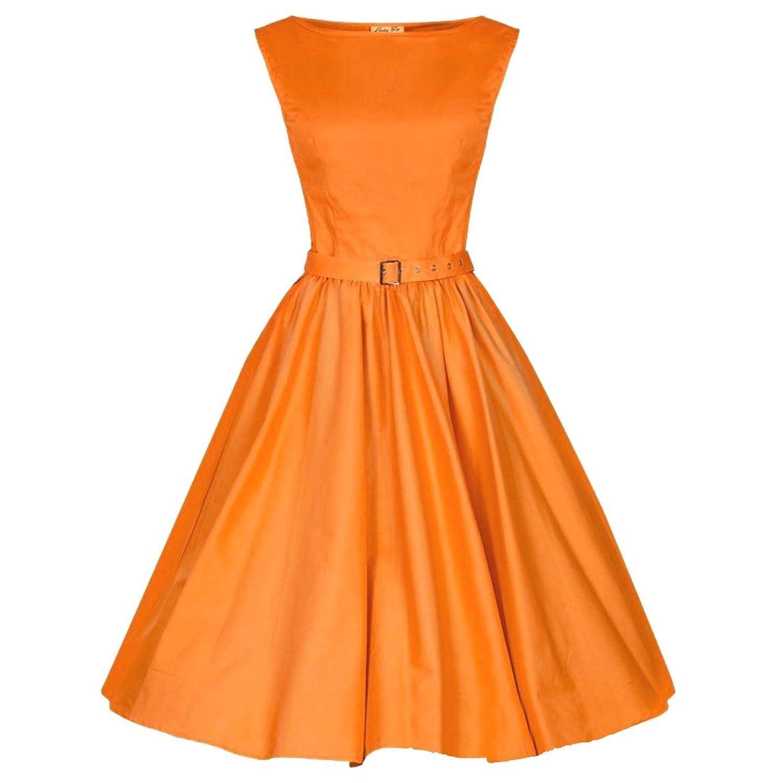 Partiss Damen Frauen Franzoesisch Stil Schleife Aermellos 60er Vintage Klassisch ElegantKnielang Kleid
