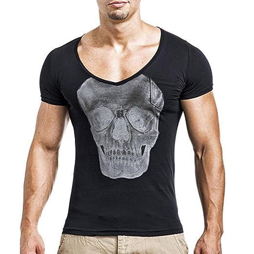 Camiseta para Hombre Camisa de manga corta delgada ocasional de la camisa de manga corta de