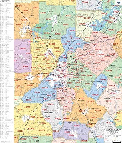 (Metro Atlanta Zip Code Wall Map Laminated 2019)