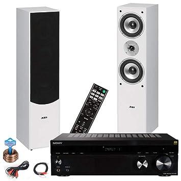 etc-shop HiFi Sistema casero Teatro Musical Sony Amplificador de Altavoces de pie Cable Blanco