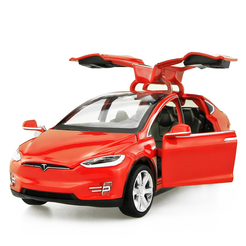 Diecast Vehicle Alloy Tesla toy car model X 90 Pull Back toy cars with Sound&light Toy Kids Toys 1/32 Scale (RED)