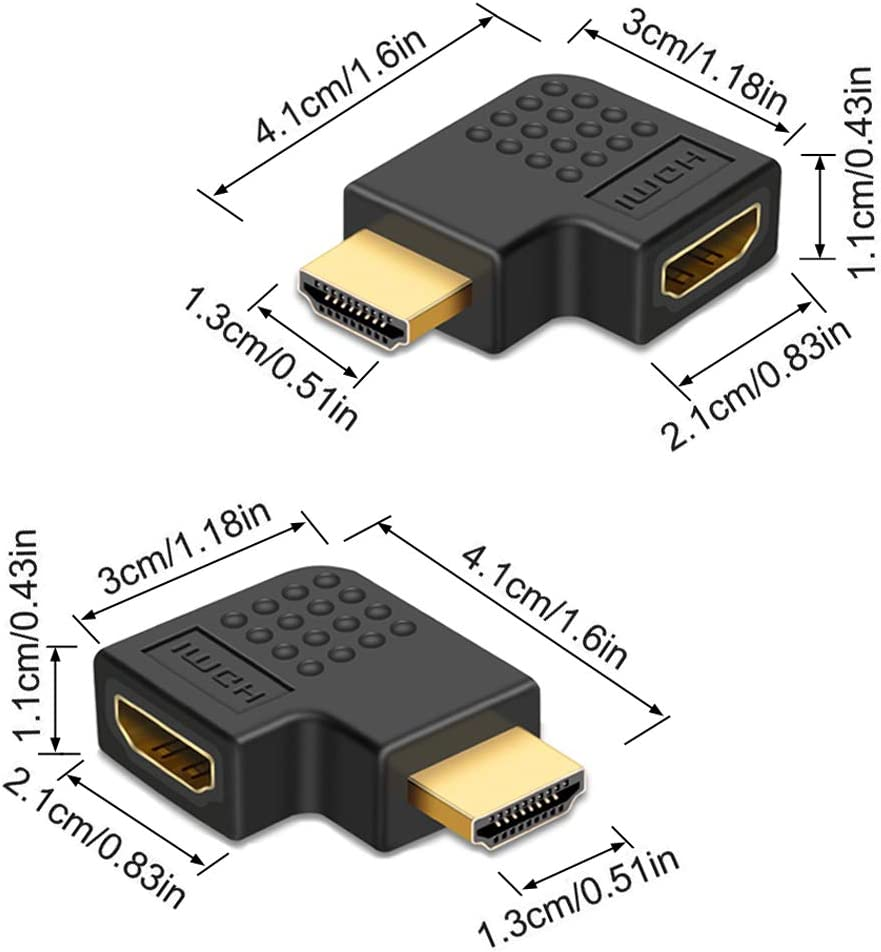 7 Pack HDMI Angled Adapter Combo Gold-Plated 3D Supported TV Connector 3 Pcs Vertical Flat Left /& Right 90 Degree Angle and 4 Pcs 270 /& 90 Degree Male to Female HDMI Adapter
