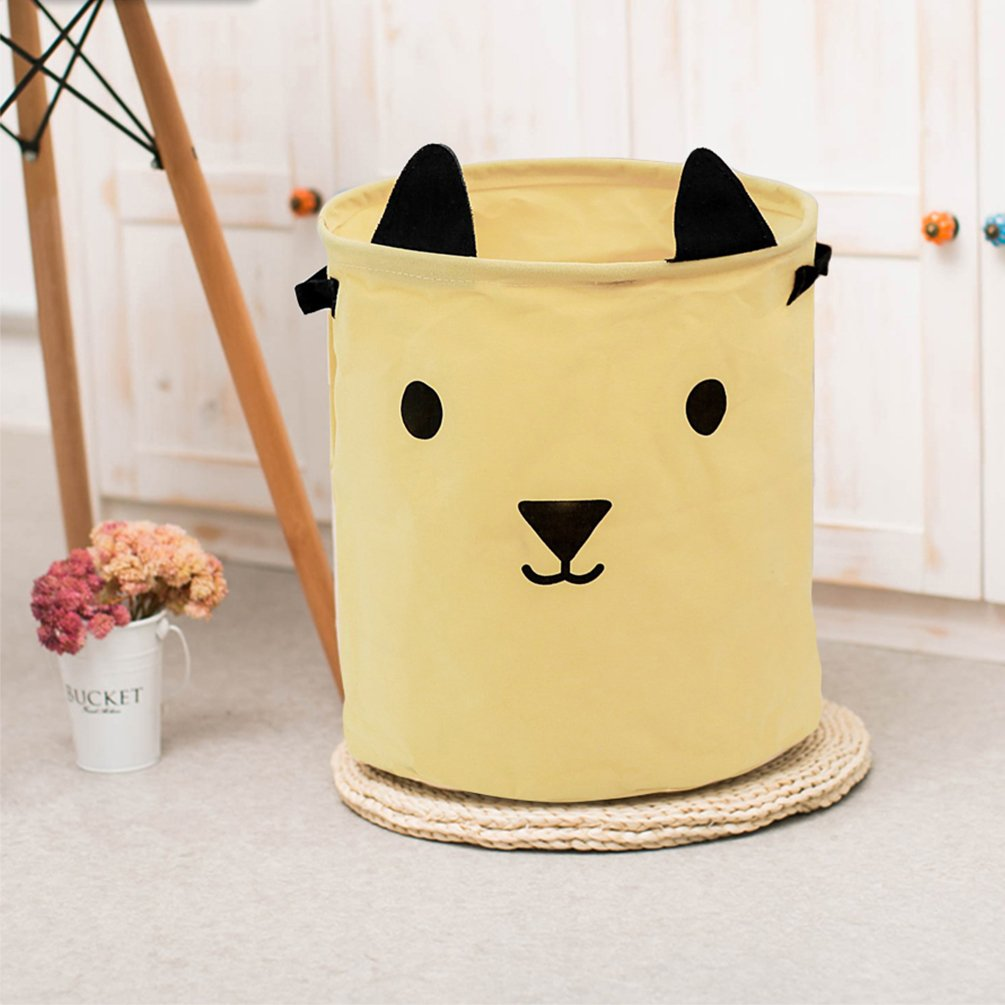 Baby Clothes Yellow Gift Basket Inwagui Foldable Nursery Laundry Storage Basket with Handles Cartoon Animals Storage Bins Organizer for Kids Toys