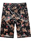SSLR Men's Print Stretch Flat Front Mid Rise Casual Hawaiian Shorts (32, Black)