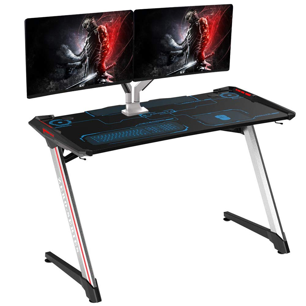 Kinsal Computer Desk Gaming Desk Z-Shaped Student Table with Fighting RGB LED Ambience Lighting, Racing Table E-Sports Durable Gaming Desk Ergonomic Comfortable PC Desk (Silver) by Kinsal