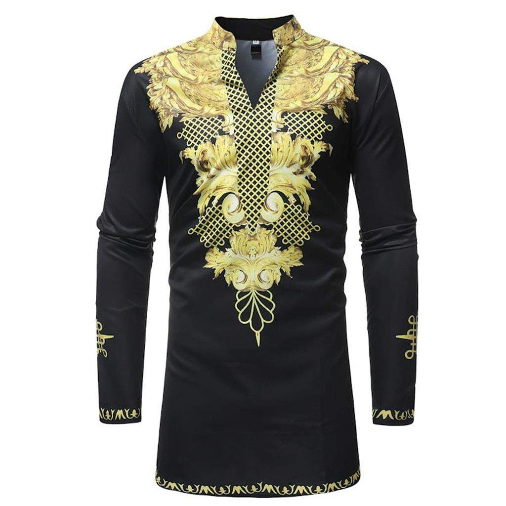 Luxfan Mens African Clothing Tribal Dashiki Traditional Maxi Stand Collar Long Sleeves Dress Shirt Plus Size (Black 03, L)