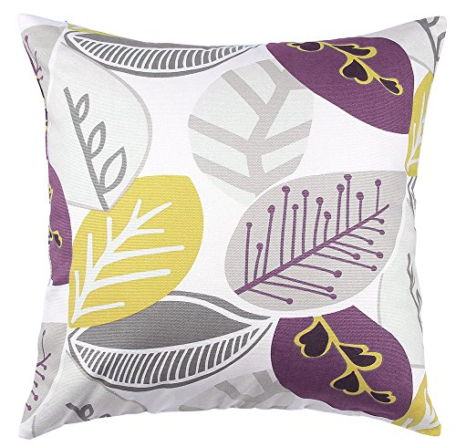 TangDepot Decorative Handmade Floral Leaf Throw Pillow Covers /Pillow Shams, 10 Sizes option – (22×22, Purple Leaves)