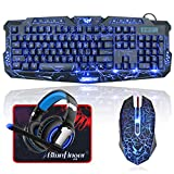 BlueFinger Gaming Keyboard and Mouse,USB Wired Backlit Gaming Mouse and Keyboard Combo,Letters Glow Keyboard and Mouse Set for Game Work