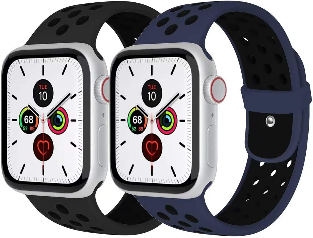 Zsuoop Sport Watch Band Compatible with Apple Watch Bands 38mm 40mm 42mm 44mm,Soft Silicone Wristband for Apple Watch Series 6/SE/5/4/3/2/1,2pack,Midnight Blue&Black/Obsidian&Black-42S