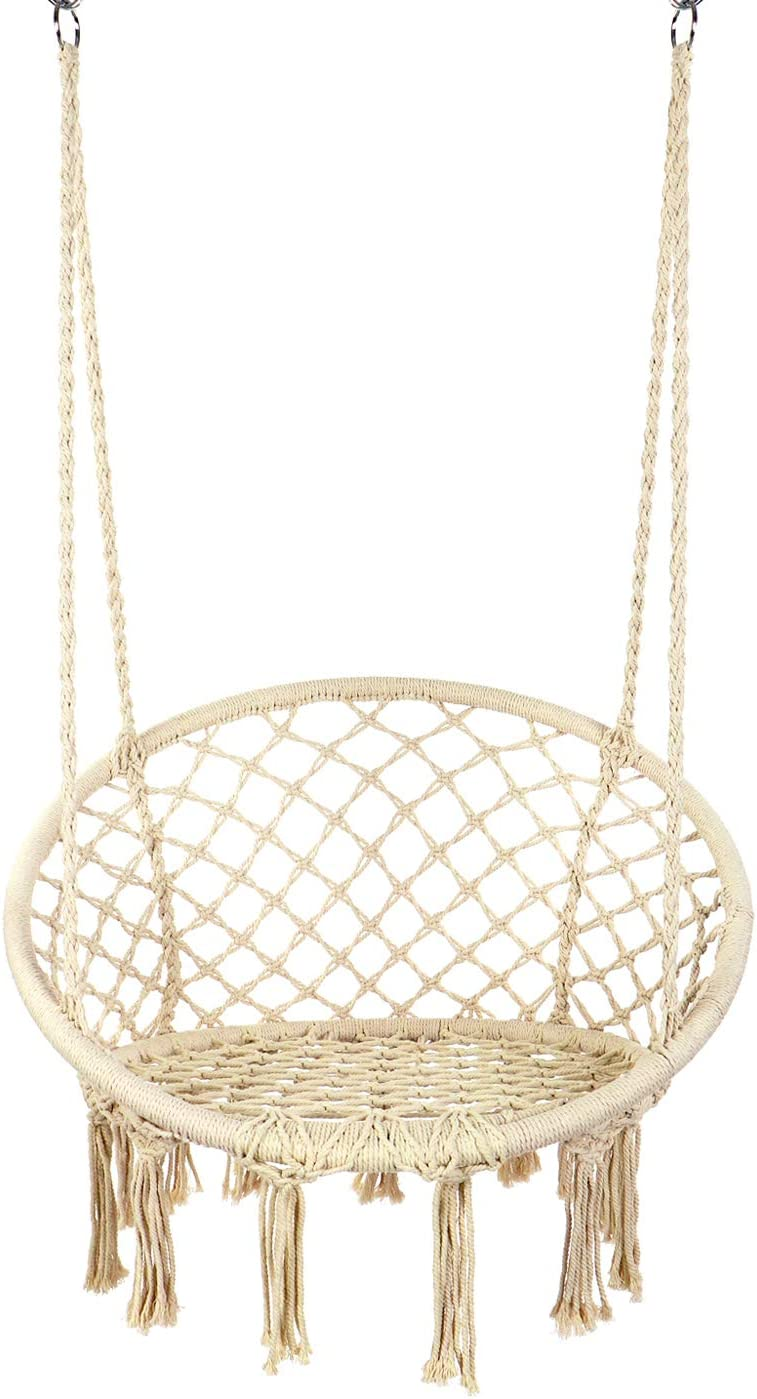 Y- STOP Hammock Chair Macrame Swing – Max 330 Lbs-Hanging Cotton Rope Hammock Swing Chair for Indoor and Outdoor Use Beige