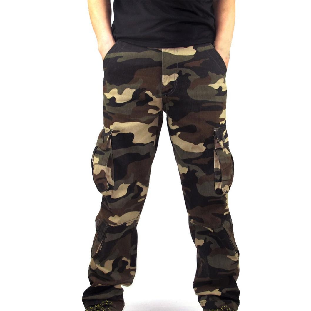 2018 New Sale!Men Camouflage Pocket Overalls Casual Pocket Sport Work Casual Trouser Pants(Khaki, 40)