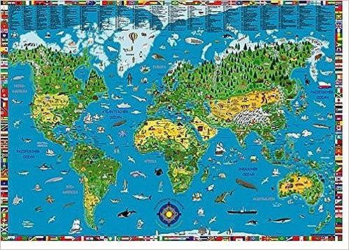 Illustrierte Weltkarte Fur Kinder Und Erwachsene Poster
