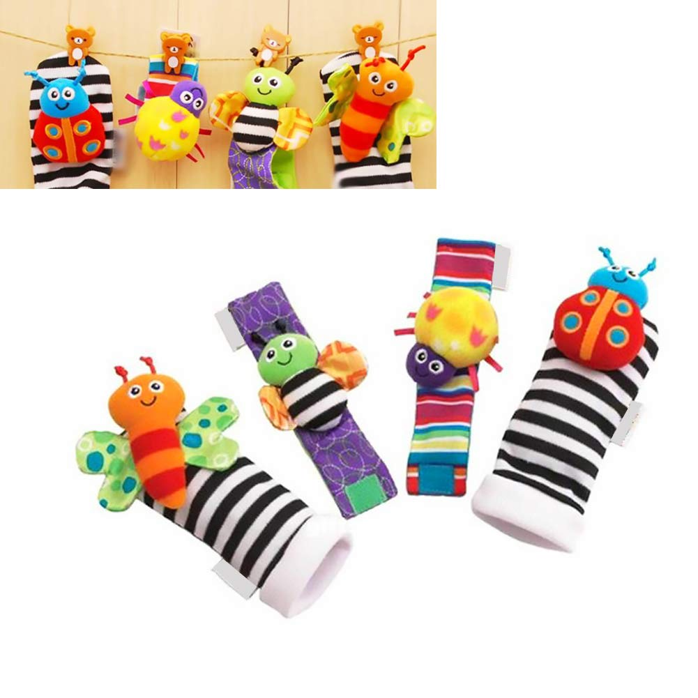 4pcs Baby Infant Toy Developmental Wrist Strap Foot Socks Rattle Bug Finders