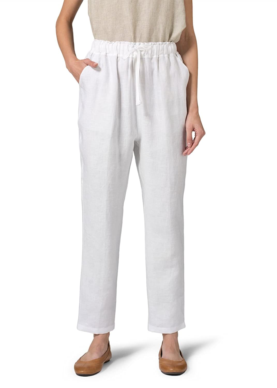 Vivid Linen Narrow-Leg Regular Length Pants