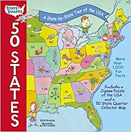50 States A State By State Tour Of The Usa State Shapes Erin