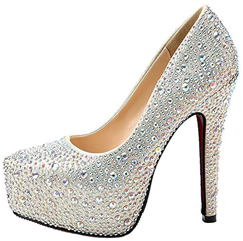 bangfox New Arrival Wedding Stiletto Heels Closed Toe Rhinestones Stud Bridal Platform Pump Champagne9 B(M) US - Costco New Arrivals